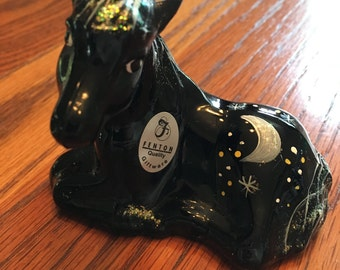 Black Fenton Art Glass Pony with Hand-Painted Moon and Stars