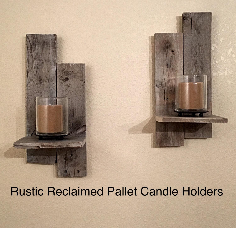 rustic reclaimed pallet wall sconces candle holder. Black Bedroom Furniture Sets. Home Design Ideas