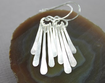 Sterling silver hammered fringe bars dangle earrings, stick earrings, cascade earrings, sterling silver earrings, trendy earrings