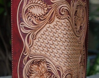 Long leather wallet, leather handmade, leather carving