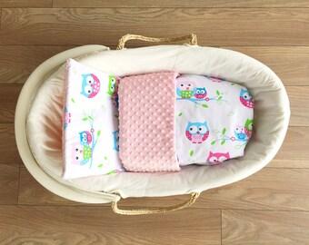 MINKY BLANKET baby 75 x 50 + pillow OWL * 2 set * bassinet, stroller