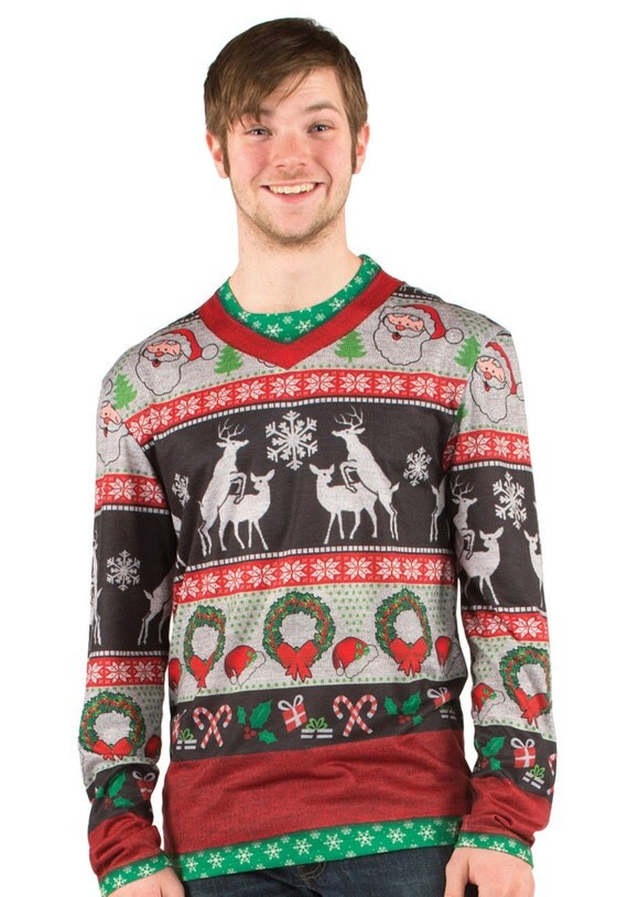 Ugly Tacky Merry Christmas Reindeers Humping festivus party Noel Bow Tie santa claus eve morning elf Sweater Vest v neck long sleeve T Shirt