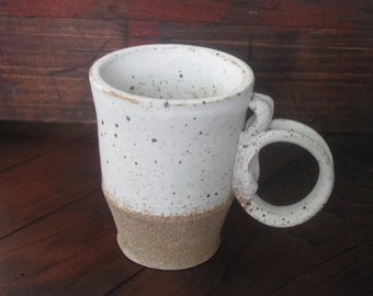 White Freckle Mug - Handmade Pottery Mug, 12 oz Great for coffee or tea  WORKBYDAN
