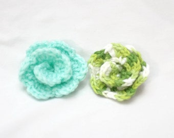 Crochet Rose - Gator Clip - Hair or Clothing Accessory - Clip on Rose Applique - Green Roses