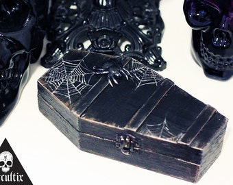 Unique, Coffin Jewellery Box, Coffin Box, With Spider on top, Black, Silver, Vintage, Goth, Halloween