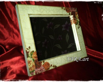 Decoupage mirror, wooden mirror, vintage mirror, home decor, wall decor, wall mirror, small wall decor, flowers, roses.