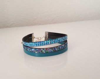 "leather Cuff Bracelet ""night BLUISH"""