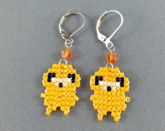 Jake Earrings - Pixel Earrings Dog Earrings Pixel Jewelry Adventure Time Earrings Seed Bead Earrings Nerdy Earrings Nerdy Gift