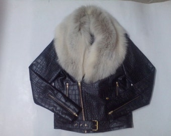 Ladies Soft Lamb Leather biker Jacket with removable fox fur trimming.