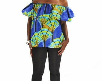 African wax printed tropical blouse shoulders bare in blue and green wax