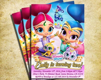 Shimmer And Shine Invitation - Shimmer And Shine Birthday Invite - Printable And Digital File