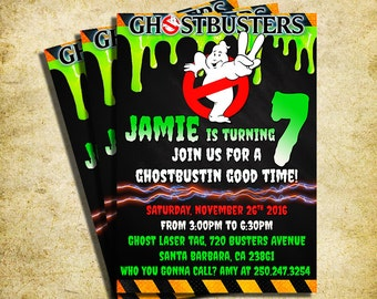 Ghostbusters Invitation - Ghostbusters Chalkboard Birthday Invite - Printable And Digital File