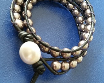 Wrap Bracelet with Upcycled button closure