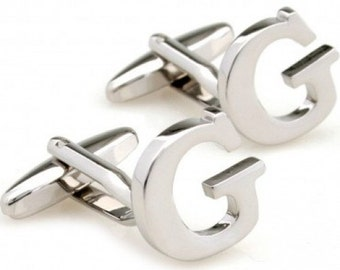 initial cufflinks letter g monogram alphabet cuff links for groomsmen groom wedding gift