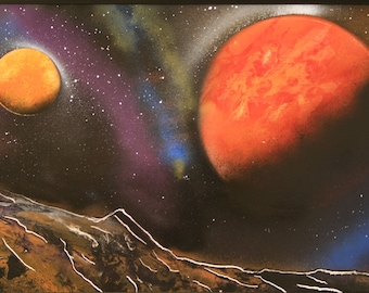 Orange and Red planet with nebula standing on rocks - Spray Paint Space Art - 12 in x 18 in