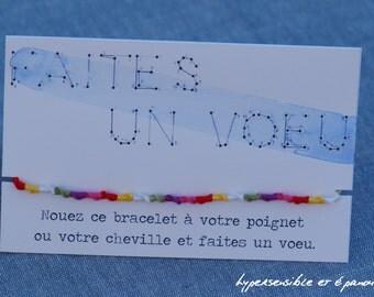 """Bracelet """"Make a wish"""" 6 colors - 100% cotton"""