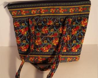 Blue Quilted Shoulder Bag & Change Purse