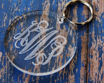 Monogrammed Acrylic Round Key Chain