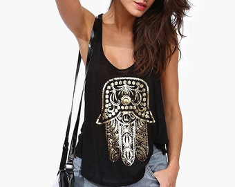 Black women's t shirts casual printed tops female fashion