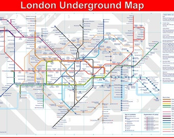Laminated London Underground Map Poster Wall Chart - A2 Size