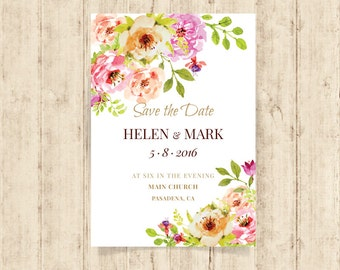 Wedding invitation template download - Printable wedding invitation set - wedding invitations with rsvp - flora