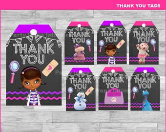 Doc McStuffins Thank you Tags Instant download, Doc McStuffins Chalkboard tags, Doc McStuffins party Thank you Tags