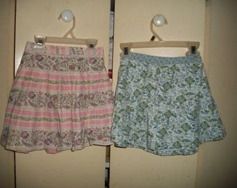 Lot of Two GAP Kids Vintage 90s Floral Cotton Skirts Size 4