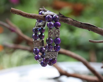 Double strand purple bracelet with iridescent beads and silver toned decorative spacers - FREE SHIPPING