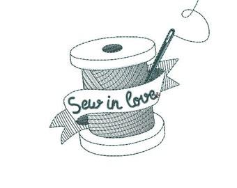 Embroidery design thread sew in love