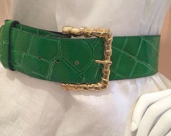 green faux leather belt gold buckle