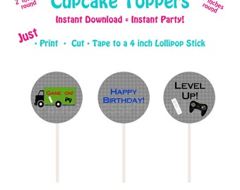 Printable Cupcake Toppers  Printable Video Game Cupcake Toppers