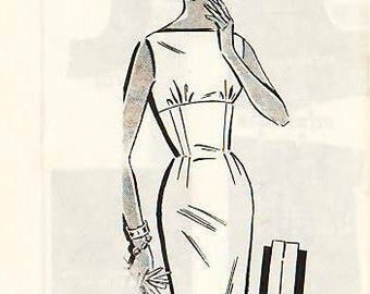 1950s Vintage Sewing Pattern B35 DRESS (R788) Patt-O-Rama 8391