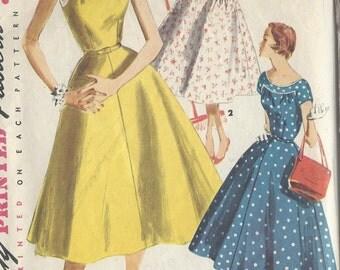 "1955 Vintage Sewing Pattern B34"" DRESS (R67)  Simplicity 1207"