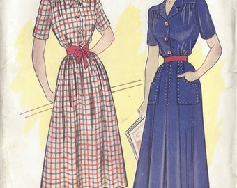 "1940s Vintage Sewing Pattern DRESS B36"" (R71)  Economy Design 181"