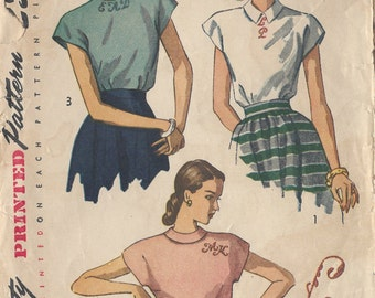 1948 Vintage Sewing Pattern B30 BLOUSE & ALPHABET TRANSFER (R840) Simplicity 2311