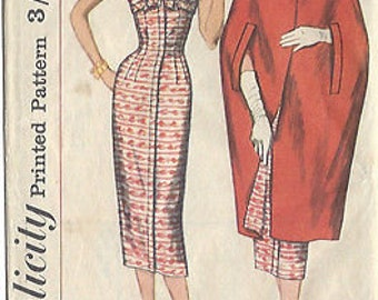 """1957 Vintage Sewing Pattern DRESS & CAPE B36""""-S16 (18) Simplicity 1991"""
