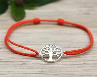 Choose tree of life cord bracelet 925 sterling silver