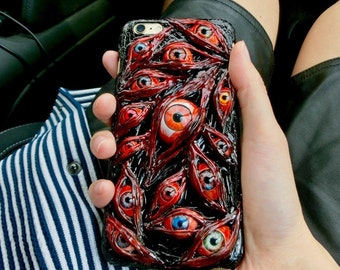 The Handmade Eyes Ball flash meat Horror Black Phone Case for Iphone6/6s/7 puls