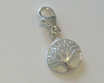 925 Sterling Silver Tree of Life Round Domed Charm with Lobster Clasp