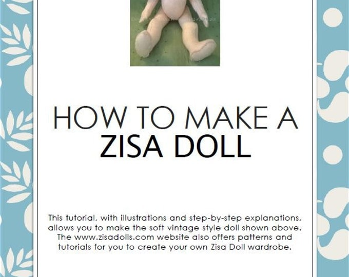 Zisa doll sewing pattern + step by step tutorial, PDF, in English