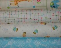 Fat Quarter Bundle Lot Zoo Babies Blue Boy Fabric FQS Jungle Safari Baby Yards Quilt Kit Lion Giraffe Elephant