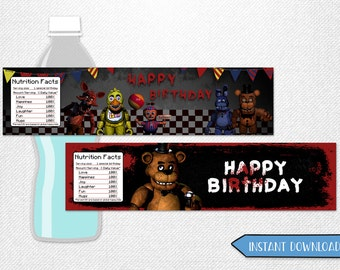 "Five Nights at Freddy's bottle labels, Five Nights at Freddy's water labels, Five Nights at Freddy's water bottle! 8x2"" each."