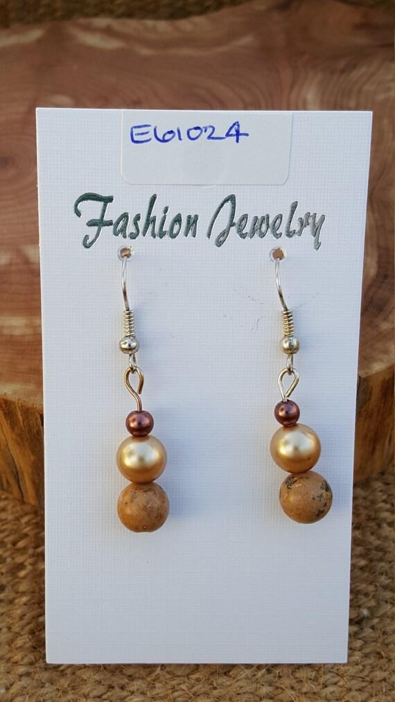 Tan Jasper Pearl Earrings / Jasper with Pearl Earrings / Dangle Earrings / Hippie Earrings / Boho Jewelry /E61024