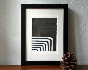 Abstract linoprint, dark brown linocut, original artwork, abstract art, print art, minimalistic pattern, scandi style, minimalistic art