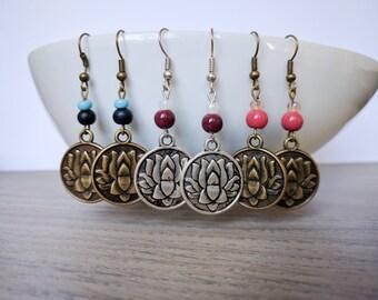 Earrings with lotus