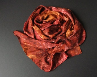 Autumn Scarf/Stole/Shawl - Chiffon with Floral Applique