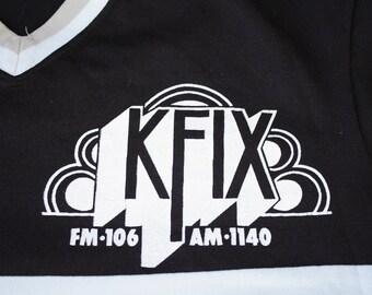 Kansas City KFIX FM 106 AM 1140 Radio Station Vintage Bowling Jersey T-shirt Tan Brown Medium by Medalist Sand-knit U.S.A.