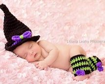 Crochet Witch Photo Prop * Crochet Witch Hat and Leg Warmers * Handmade Witch Hat * Halloween Photo Prop