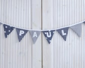 Wimpelkette grau mit Name des Kindes individuell