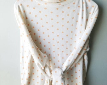 SUMMER SALE Vintage 90s Long sleeve / cotton / light weight / turtleneck / white / peach / polka-dot/ size Large / hipster